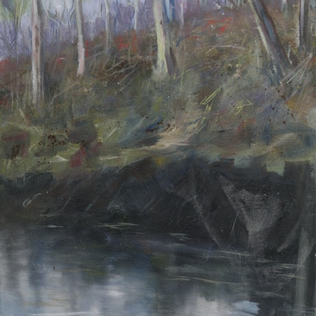 (CreativeWork) Long Black Dam by Jodi Stewart. Oil Paint. Shop online at Bluethumb.