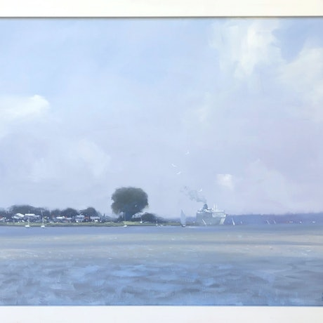 (CreativeWork) River Cruise - Goolwa by Mike Barr. Oil Paint. Shop online at Bluethumb.