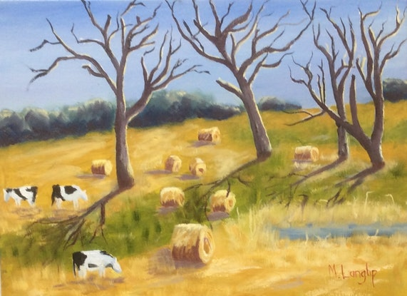 (CreativeWork) Country Scene at Foster, South Gippsland, Victoria by Margie Langtip. Oil Paint. Shop online at Bluethumb.