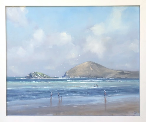 (CreativeWork) Autumn Shadows - Victor Harbor by Mike Barr. Oil Paint. Shop online at Bluethumb.