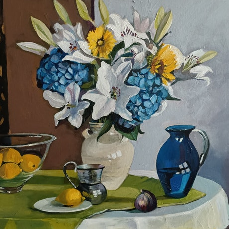 (CreativeWork) Still Life - Hydrangeas and Lillies by Susan Trudinger. Acrylic Paint. Shop online at Bluethumb.