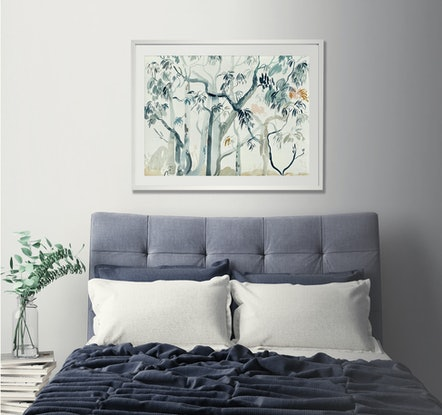 (CreativeWork) Gum Trees in the Rain 2 by Sally Browne. Watercolour Paint. Shop online at Bluethumb.