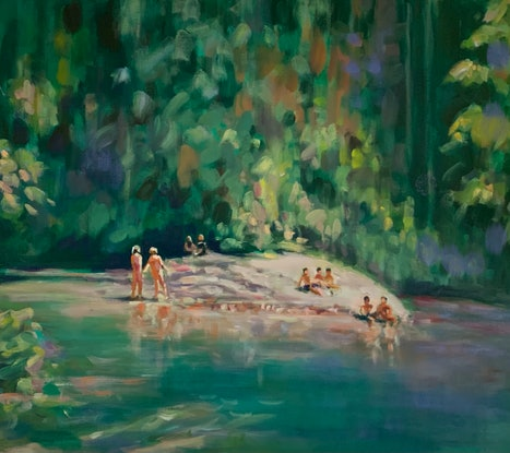 (CreativeWork) Green Hours by Sara Roberts. Oil Paint. Shop online at Bluethumb.
