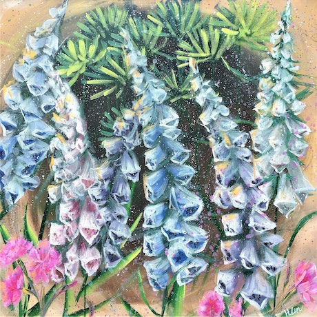 (CreativeWork) Our Safe Place -Pine Tree and Foxglove by HSIN LIN. Acrylic Paint. Shop online at Bluethumb.