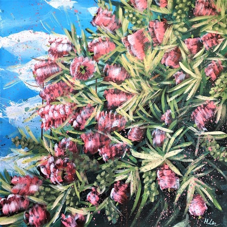 (CreativeWork) Our Adventure Begins - Bottle Brush Flowers  by HSIN LIN. Acrylic Paint. Shop online at Bluethumb.