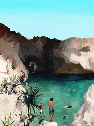 (CreativeWork) Blue Grotto A2 Ed. 1 of 50 by Pip Phelps. Print. Shop online at Bluethumb.