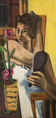 (CreativeWork) WOMAN COMBING HER HAIR by Stephen Leek. Oil. Shop online at Bluethumb.