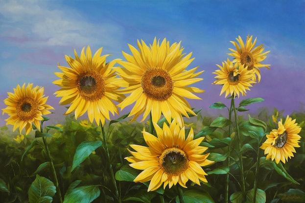 (CreativeWork) Sunflowers 2 by Debra Dickson. Acrylic Paint. Shop online at Bluethumb.