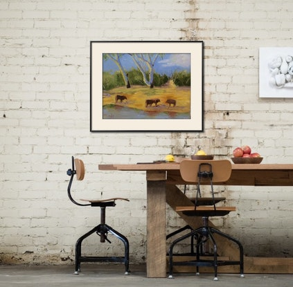 (CreativeWork) Four Cows by a River by Margie Langtip. Oil Paint. Shop online at Bluethumb.