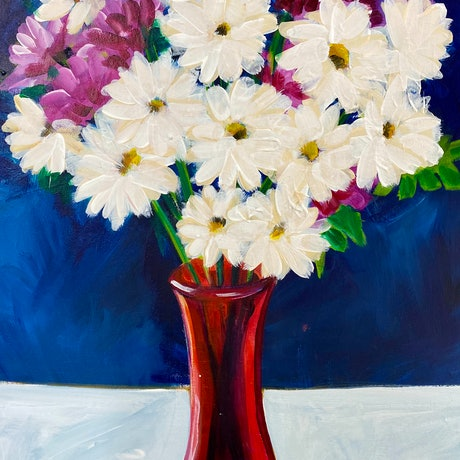 (CreativeWork) White Daisies  by Alison Pilcher. Acrylic Paint. Shop online at Bluethumb.