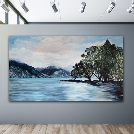 (CreativeWork) Lake Wakatipu, Queenstown by Meredith Howse. Acrylic Paint. Shop online at Bluethumb.