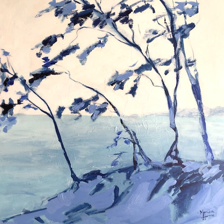 (CreativeWork) Stradbroke in Blue by Meredith Howse. Acrylic Paint. Shop online at Bluethumb.