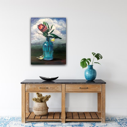 (CreativeWork) Rain Dance - Original Oil on canvas Storm with Birds and vase  by Mia Laing. Oil Paint. Shop online at Bluethumb.