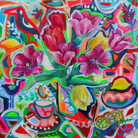 (CreativeWork) The Magpie Behind the Tulips by Katerina Apale. Oil Paint. Shop online at Bluethumb.