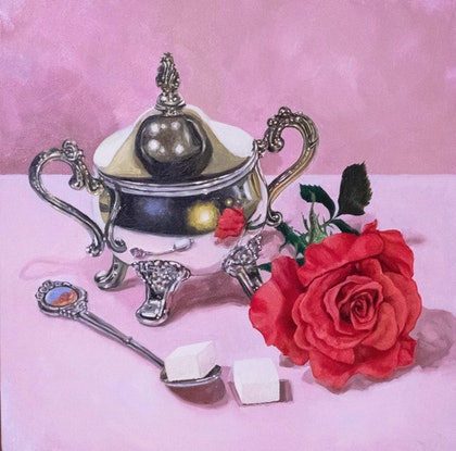 (CreativeWork) The Rose and the Sugar Cubes by Melissa Ritchie. Oil Paint. Shop online at Bluethumb.
