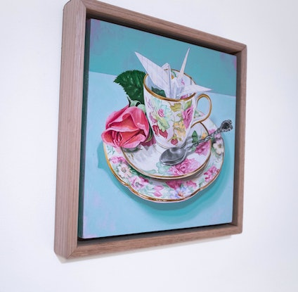 (CreativeWork) Tea on Turquoise by Melissa Ritchie. Oil Paint. Shop online at Bluethumb.