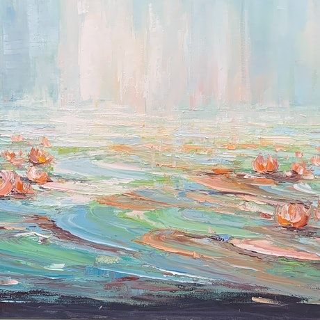 (CreativeWork) Water lilies No 48 by Liliana Gigovic. Oil Paint. Shop online at Bluethumb.