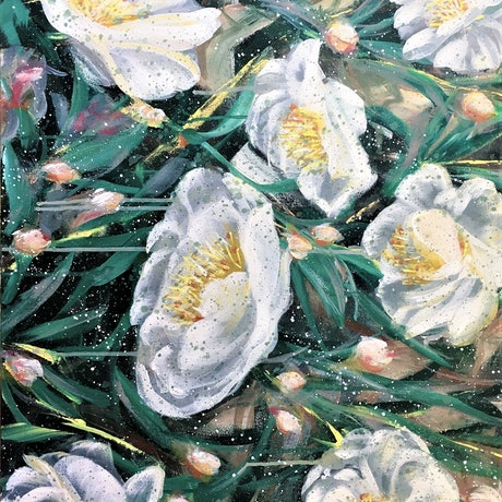 (CreativeWork) A Wonderful Life - White Camellia  by HSIN LIN. Acrylic Paint. Shop online at Bluethumb.