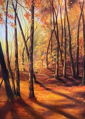 (CreativeWork) Burnt Orange forest by Nicolee Payne. Oil Paint. Shop online at Bluethumb.