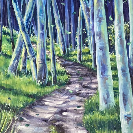 (CreativeWork) Green Birch Forest by Nicolee Payne. Oil Paint. Shop online at Bluethumb.