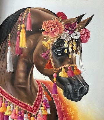 (CreativeWork) Bay Arab by Nicolee Payne. Oil Paint. Shop online at Bluethumb.