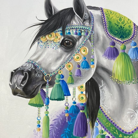 (CreativeWork) Grey Arab by Nicolee Payne. Oil Paint. Shop online at Bluethumb.