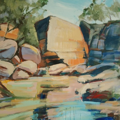 (CreativeWork) RIVER AND GORGE by Karen McPhee. Acrylic Paint. Shop online at Bluethumb.