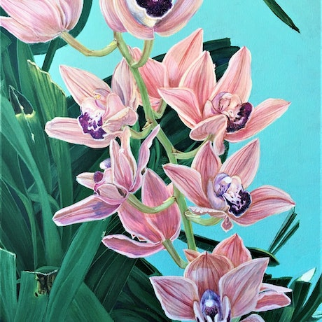 (CreativeWork) Forever Together - Cymbidium Orchids by HSIN LIN. Acrylic Paint. Shop online at Bluethumb.