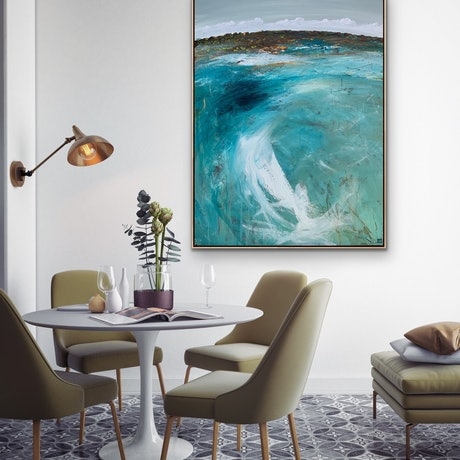 (CreativeWork) Midday At The Inlet 101X76cm Large Abstract Seascape by Tania Chanter. Acrylic Paint. Shop online at Bluethumb.