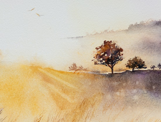 (CreativeWork) Country Sunrise by Anastasia Mily. Watercolour Paint. Shop online at Bluethumb.