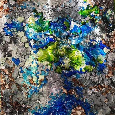 (CreativeWork) Rock Pools 1 by sue bannister. Mixed Media. Shop online at Bluethumb.