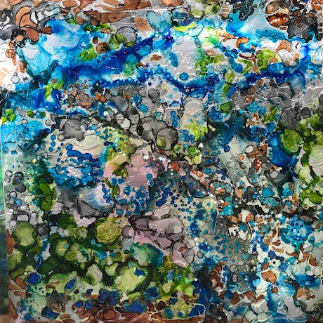 (CreativeWork) Rock pools 2 by sue bannister. Mixed Media. Shop online at Bluethumb.