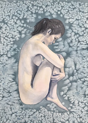 A nude women curled up in the foetal position, she has dark hair in a pony tail on an indigo background with a patterned effect.