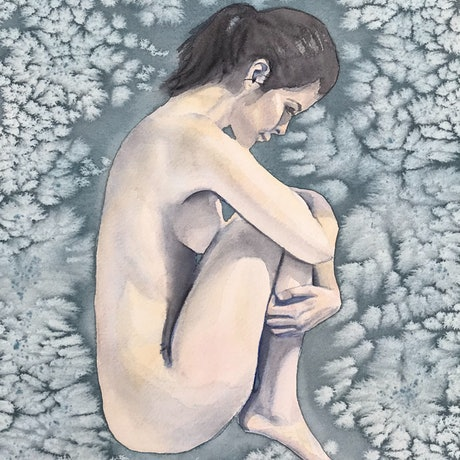 (CreativeWork) Stillness - Nude Study by Kathryn Price. Watercolour Paint. Shop online at Bluethumb.