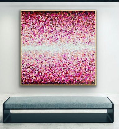 (CreativeWork) New horizons 150x150 framed large textured abstract by Sophie Lawrence. Acrylic Paint. Shop online at Bluethumb.