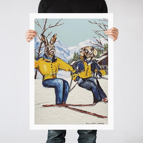 (CreativeWork) Skiing is living (Print) by Gillie and Marc Schattner. Print. Shop online at Bluethumb.