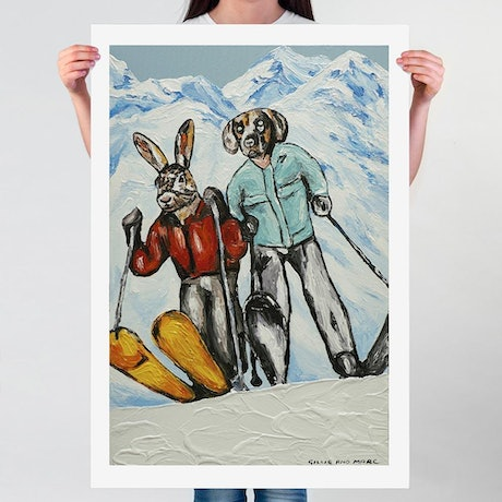 (CreativeWork) They were snow lovers (Print) by Gillie and Marc Schattner. Print. Shop online at Bluethumb.