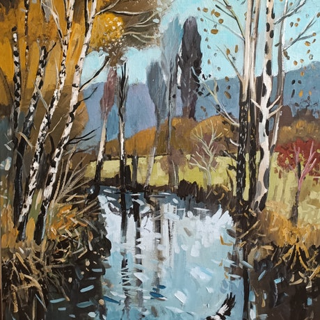 (CreativeWork) Landscape  - Autumn Falling by Susan Trudinger. Acrylic Paint. Shop online at Bluethumb.