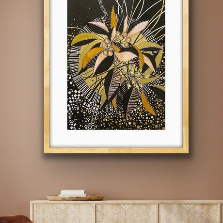(CreativeWork) Seed Pods In Black and Gold 2 by Tania Daymond. Drawings. Shop online at Bluethumb.