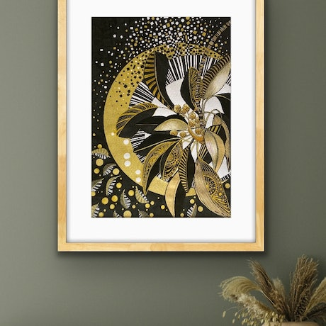 (CreativeWork) Seed Pods In Black and Gold 3 by Tania Daymond. Drawings. Shop online at Bluethumb.
