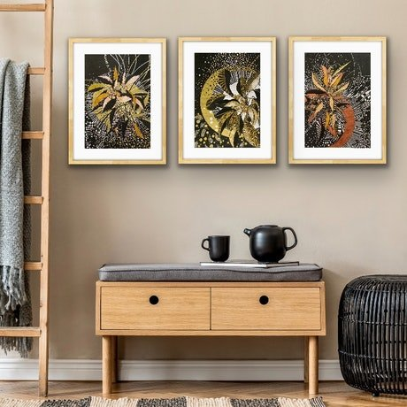 (CreativeWork) Black and Gold Trio by Tania Daymond. Drawings. Shop online at Bluethumb.
