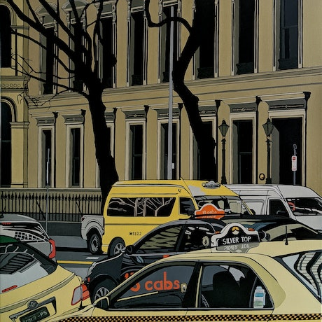 (CreativeWork) Big Yellow Taxi by Leigha White. Oil Paint. Shop online at Bluethumb.
