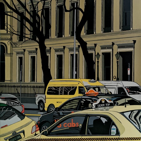 (CreativeWork) Big Yellow Taxi by Leigha White. Oil. Shop online at Bluethumb.