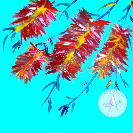 (CreativeWork) Happy days - Abstract fingers painting , colorful bloom bottle brush Ed. 1 of 50 by Ilanit Vanu. Print. Shop online at Bluethumb.