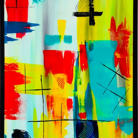 (CreativeWork) ABSTRACTION AVEC JAUNE                                               by Rick Smith. Acrylic Paint. Shop online at Bluethumb.
