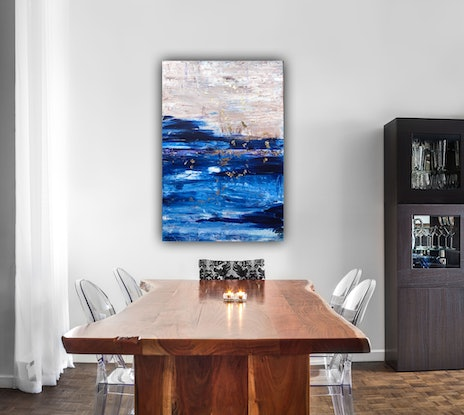 (CreativeWork) SPLASH  OF GOLD LEAF ABSTRACT  by lyn price. Acrylic Paint. Shop online at Bluethumb.