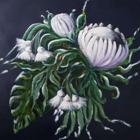 (CreativeWork) White Protea and Gumnuts by Christine Hookham. Acrylic. Shop online at Bluethumb.