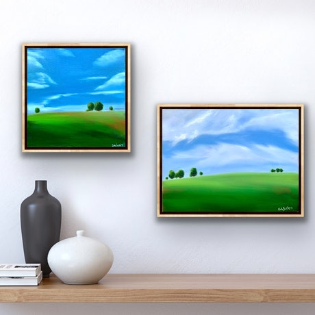 (CreativeWork) Fresh Field I and II - 2 paintings, fully framed by Eve Sellars. Oil Paint. Shop online at Bluethumb.