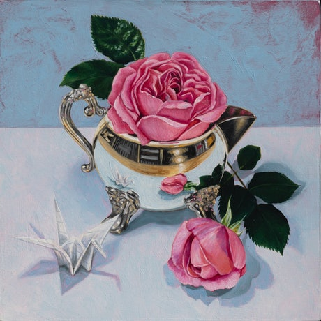 (CreativeWork) Silver Jug and the Roses by Melissa Ritchie. Oil Paint. Shop online at Bluethumb.