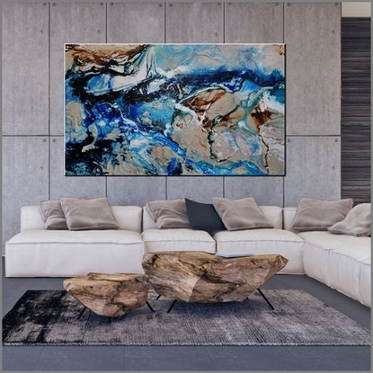 (CreativeWork) The Natural Grace 250cm x 150cm Cream Blue Teal Abstract Textured Acrylic Gloss Finish FRANKO  by _Franko _. Acrylic Paint. Shop online at Bluethumb.